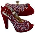 Новый Красный Цвет Итальянские Туфли с Сопрягая Мешки Африканских Го и соответствующие Сумки Итальянские Женская Обувь и Сумки, Чтобы Соответствовать для Сторон