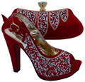 New Red Color Italian Shoes with Matching Bags African Sheos and Matching Bags Italian Women Shoe and Bag To Match for Parties