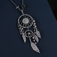 UMGODLY New Arrival Luxury Cubic Zirconia Indian Dream Catcher Necklaces Leaves Black Color Tassel Pendant Women Fashion Jewelry