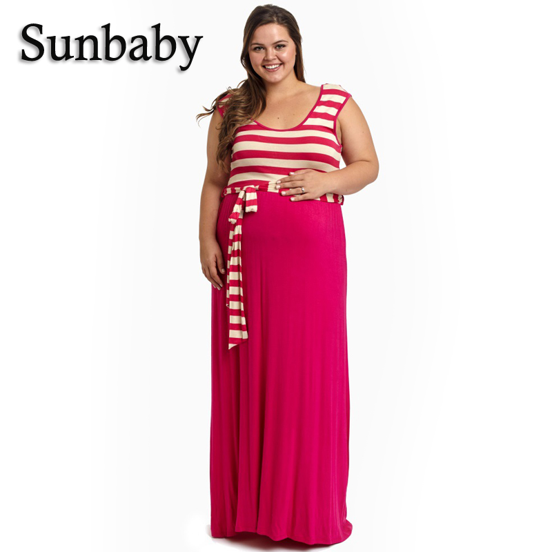 Summer Fashion Casual Striped With Bow Sashes Plus Size Dress For Pregnant Women Singlet Ankle-length full dress