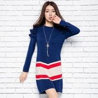 2017 Knitted Wool Dress Sweater Women Knit Dress Medium Long Color Block Decoration Basic Shirt Female