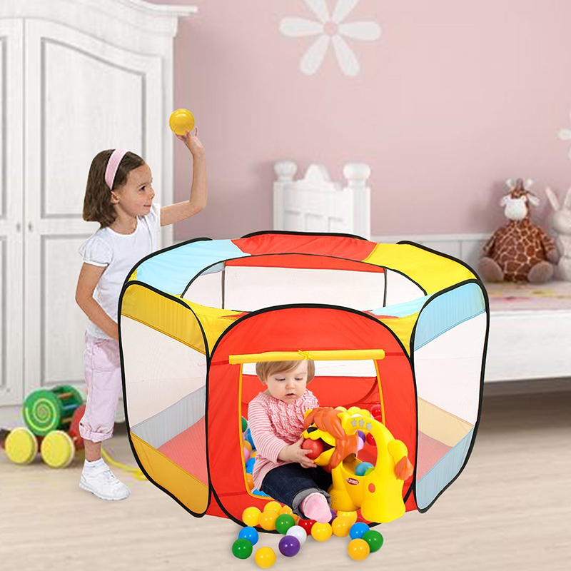 2017 New Bright colored design Kids 6 Sided Foldable Colorful Playing Tent Indoor Outdoor Color Balls Playhouse for kid play