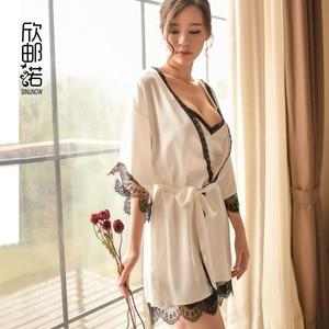 Image 1 - sinunow brand womens sleep & lounge two pic Satin Silk Nightwear Women Nightgowns Sexy Sleepwear  mini nightdress bathrobe set