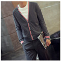 2016 Fashion Solid Color V-Neck Cardigan Men Brand Clothing Navy Style Classic Slim Fit Sweater Casual Men's Cardigans