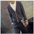 2016 Moda Cor Sólida Com Decote Em V Homens Cardigan Marca Roupas de Estilo Navy Clássico Slim Fit Cardigans Camisola dos homens Casuais