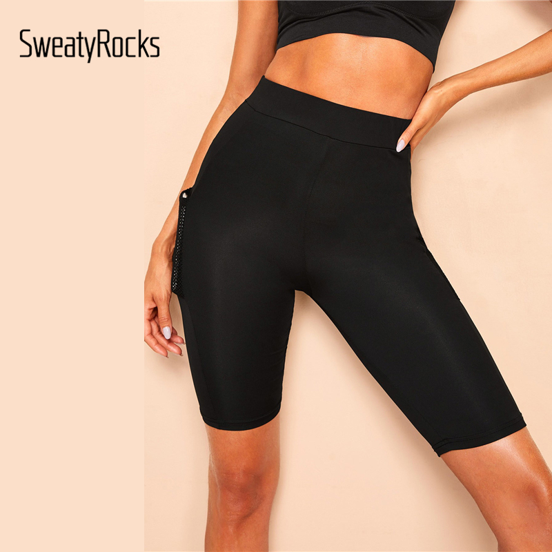 Image 3 - SweatyRocks Mesh Pocket Patched Solid Skinny Cycling Shorts Active Wear Women Biker Shorts 2019 Summer Casual Black Shorts-in Shorts from Women's Clothing
