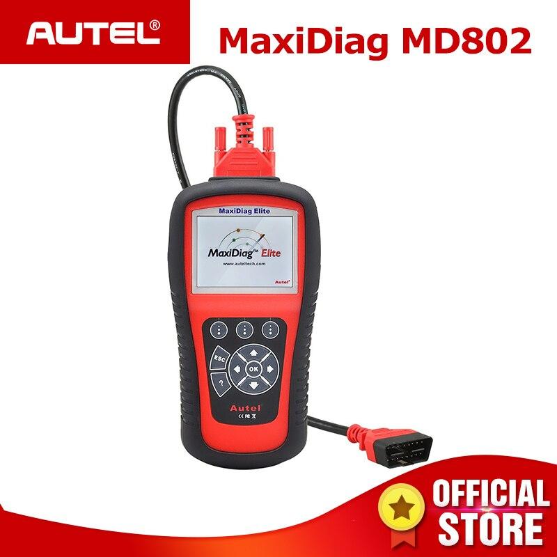 AUTEL MaxiDiag Elite MD802 Tous Les système détecteur de voiture OBDII lecteur de code scanner pour EPB reset Huile OBD2 outil de diagnostic PK MD805
