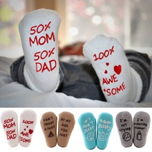Newborn Socks  Infant Baby Toddler Anti-slip Cotton Cute Funny Letter