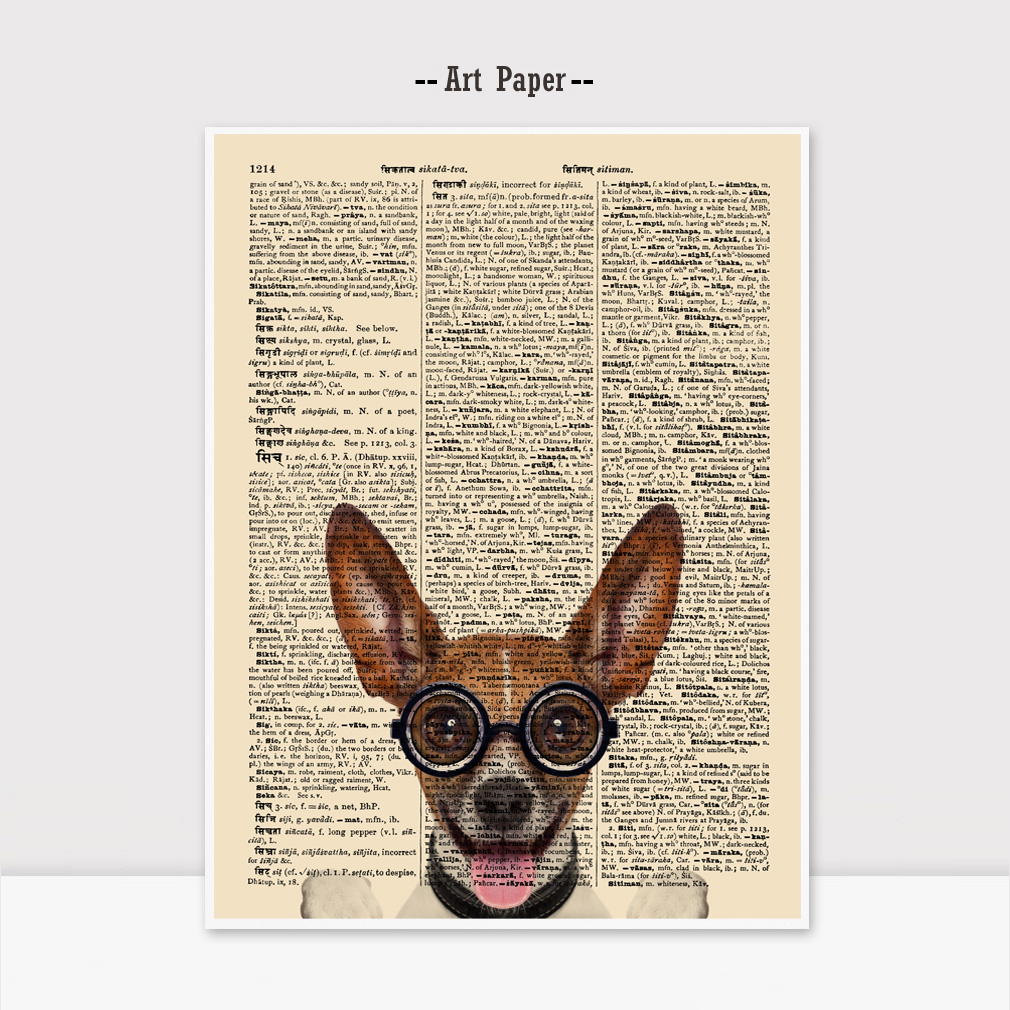 Dictionary Art Paper Chihuahua Wall Art Kids Room Pet Dog Vintage Newspaper Wall Hanging Gift for Children Unframed K102