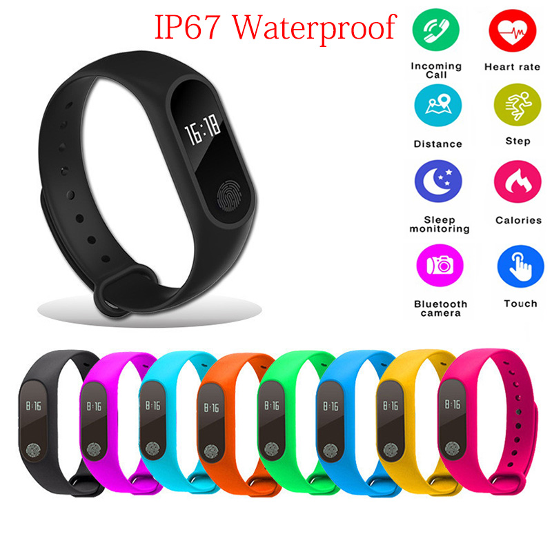 M2 Sports Pedometer IP67 Waterproof Smart Bracelet Bluetooth 4.0 Fitness Tracker Heart Rate Health Wristband Pedometer Aug17