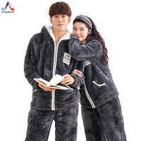 JCVANKER New Arrival Down Couples Pajamas Set For Women Men Zipper Clothes Winter Sleepwear Pyjamas Suit