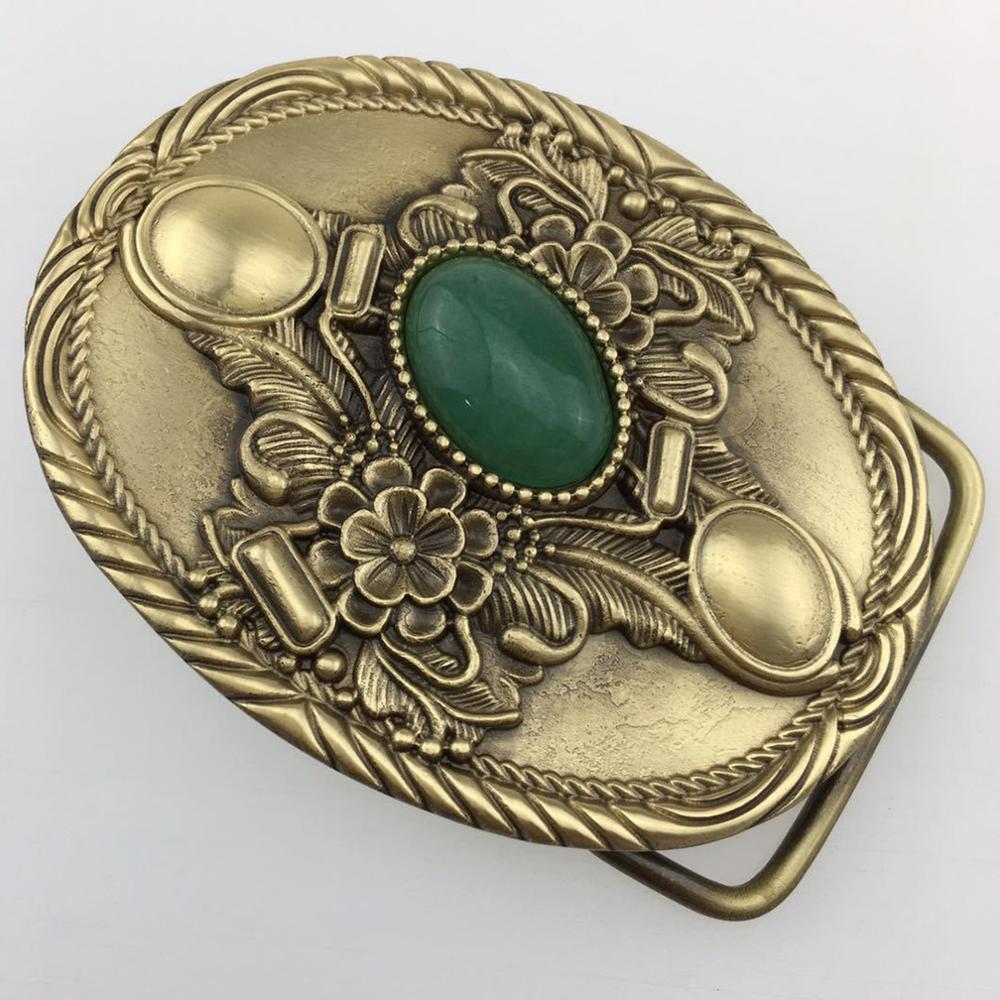 CUKUP Mens Floral Pattern Decorative Brass Buckle Metal Real Jade 3.7-3.9cm Wide Belt Paties Wedding Buckles Only for Men BRK019