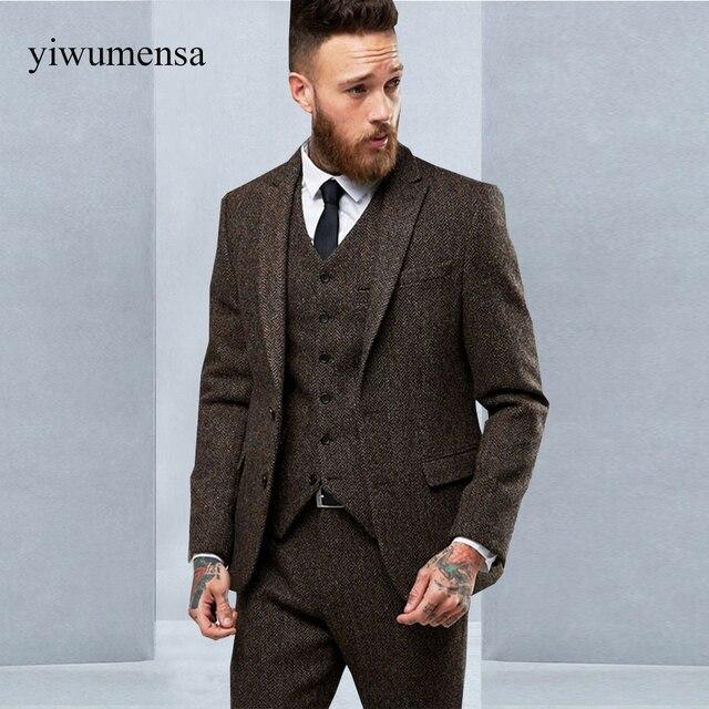 Yiwomensa 2018 terno slim fit tweed hombres traje Unidades 3 piezas trajes  vestido de boda para 3857bd93246