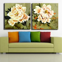 Large Vintage 2 Piece White Peony Wall Paintings For Home Decor Idea Oil Painting Art Print