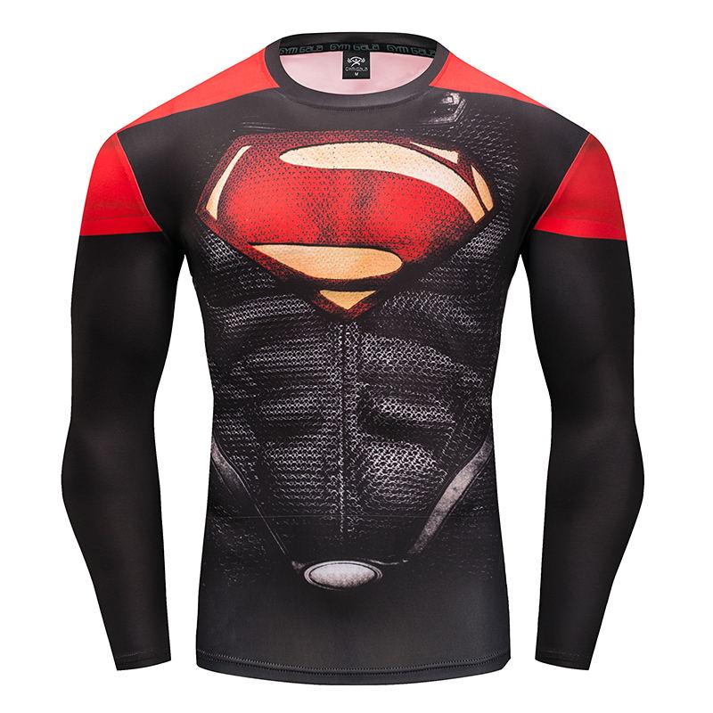2017 New Fashion Fitness Compression Shirt Men Cosplay Male Crossfit Plus Size Bodybuilding Men T shirt 3D Printed Superman Top