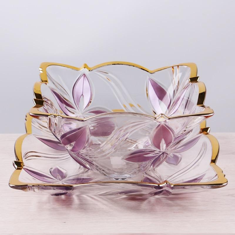 2016 New pattern living room fruit bowl plate Creative European fashion glass fruit plate