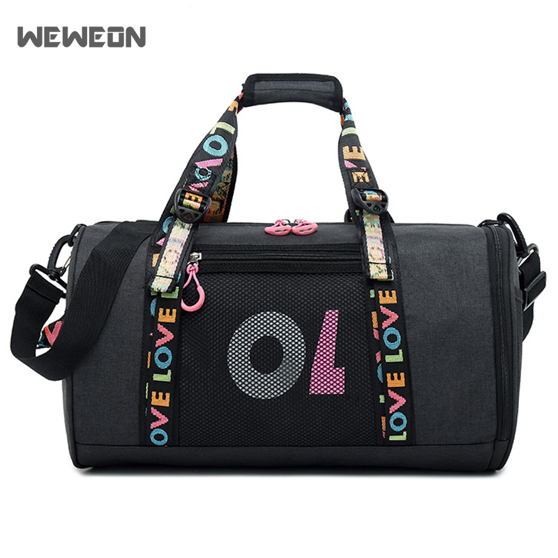 Dry wet separation Sport Gym Bags for Women Fitness Yoga Handbag Ribbon Lace Travel Tote Cylinder Luggage Bags in Gym Bags from Sports Entertainment