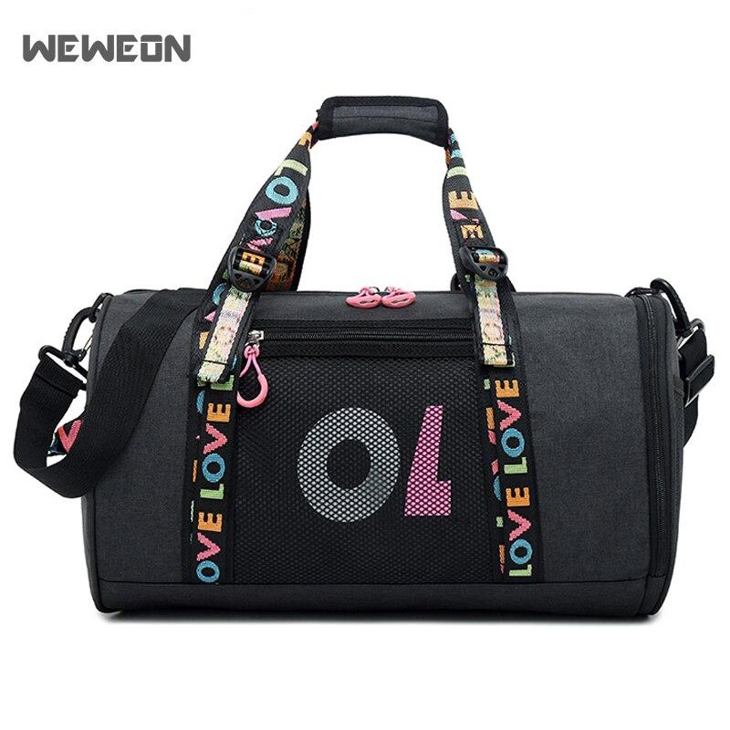Ribbon Dry and wet separation Sport Gym Bag Women Men Fitness Yoga Travel Luggage Bag Shoes Storage Shoulder Crossbody Lace Bag