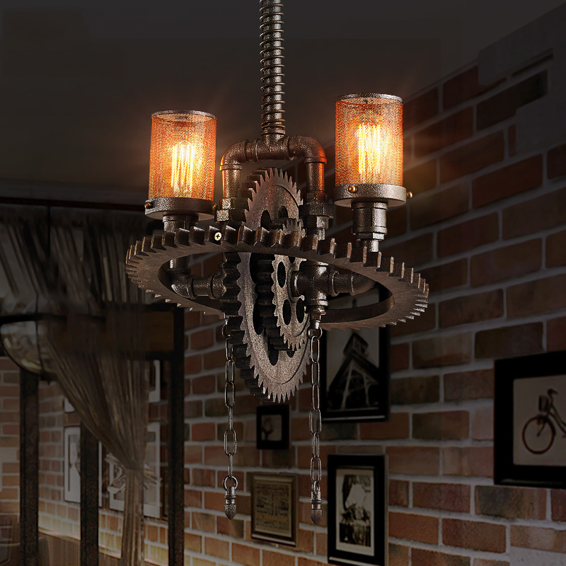 Retro industrial loft cafe bar restaurant clothing store restaurant chandelier living room hall pendant lamp vintage gear light цена