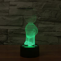 3D Fashion Hat Man Night Lights 7 Colors Changing Optical Illusion LED Modelling Table Lamp Touch