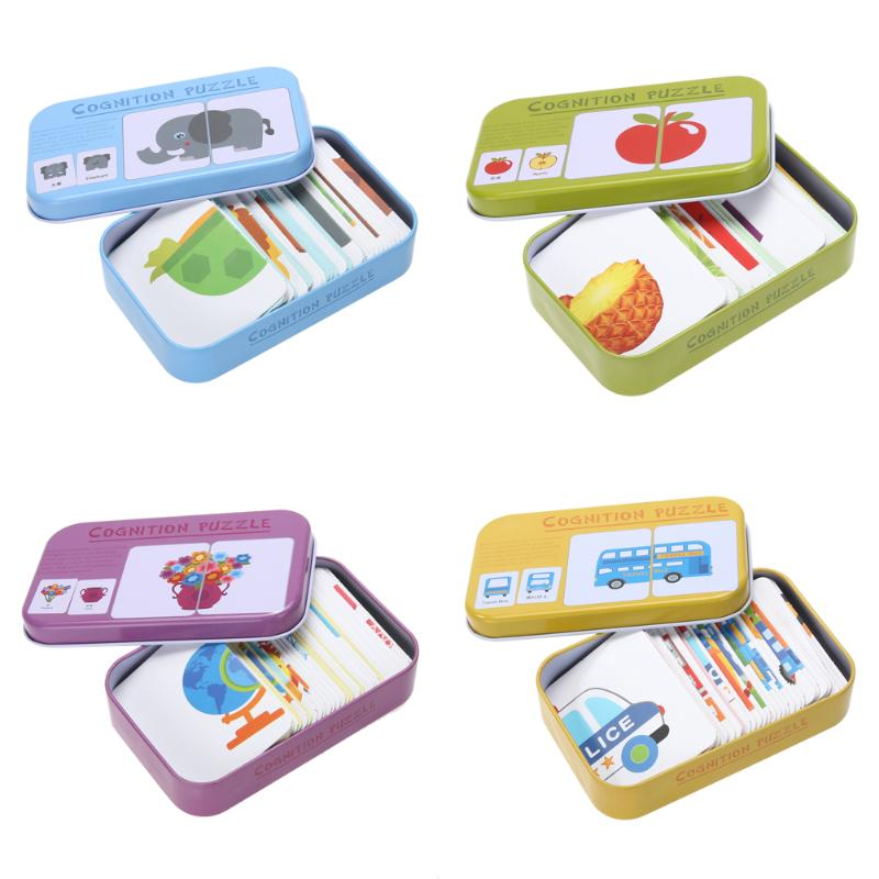 Baby Kids Cognition Puzzles Toys Toddler Iron Box Cards Matching Game Cognitive Cards Vehicl Fruit Animal Life Sets Pair Puzzles