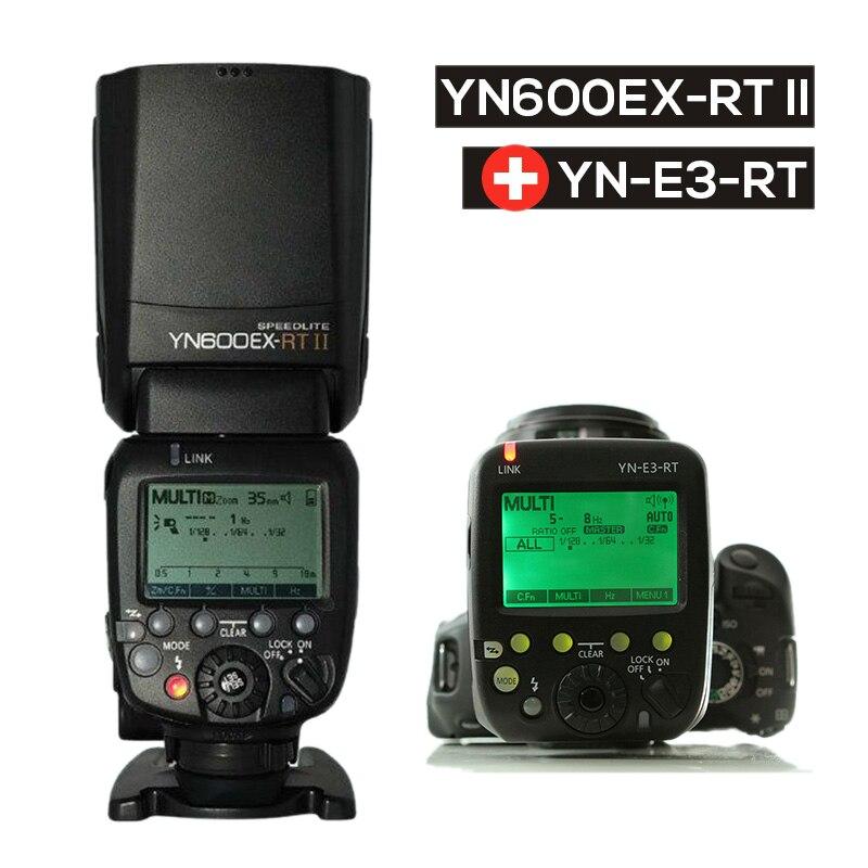 Ulanzi actualizado YONGNUO YN600EX-RT Auto II TTL HSS Flash Speedlite + YN-E3-RT controlador para Canon 5D3 5D2 7D Mark II 6D 70D 60D