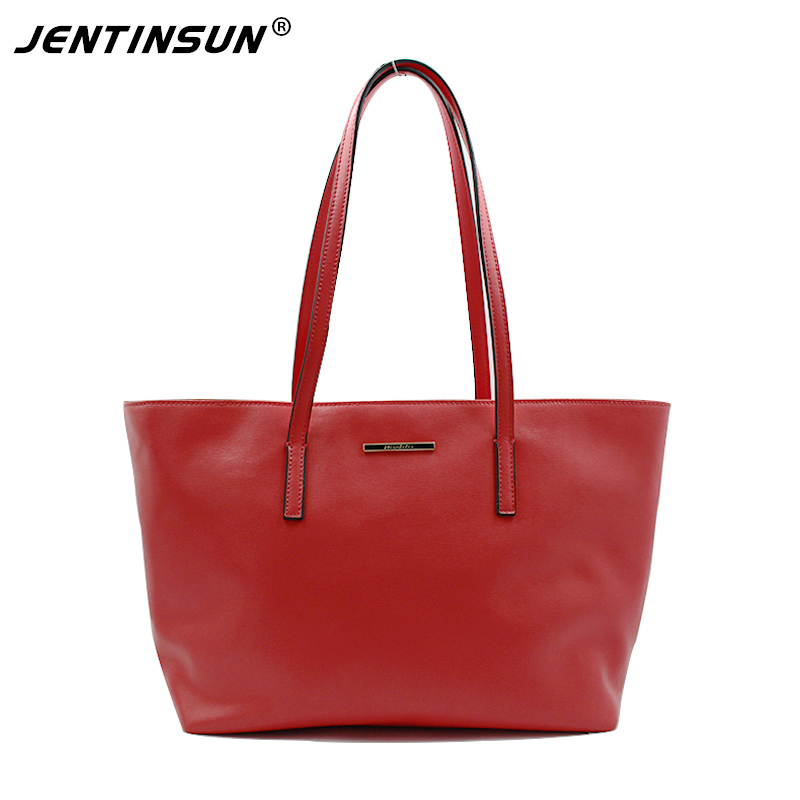Guaranteed 100% Genuine Leather Bag For Women Cowhide Large Capacity Shoulder Bags Ladies Red Tote Bag Handbag With Gift Wallet 2017 esufeir brand genuine leather women handbag fashion shoulder bag solid cowhide composite bag large capacity casual tote bag