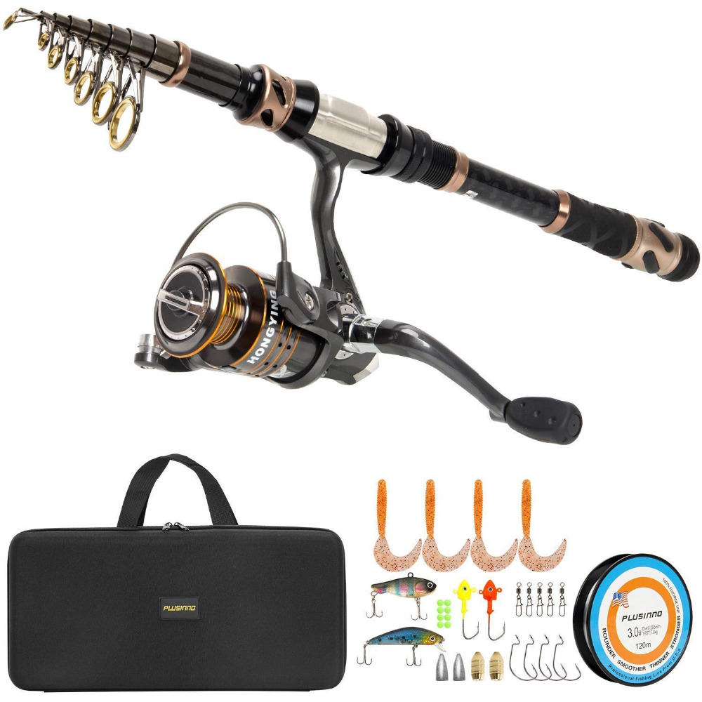 PLUSINNO Fishing Rod and Reel Combos Carbon Fiber Telescopic Fishing Pole Spinning Reel 12 1 Shielded