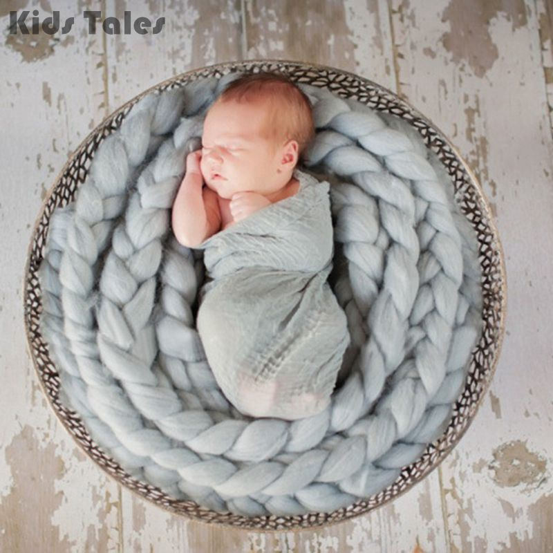 Handmade Newborn Baby Shooting Photography Photo Props Backdrop Wool Knitting Thick Blanket Crochet Rug LNY9201