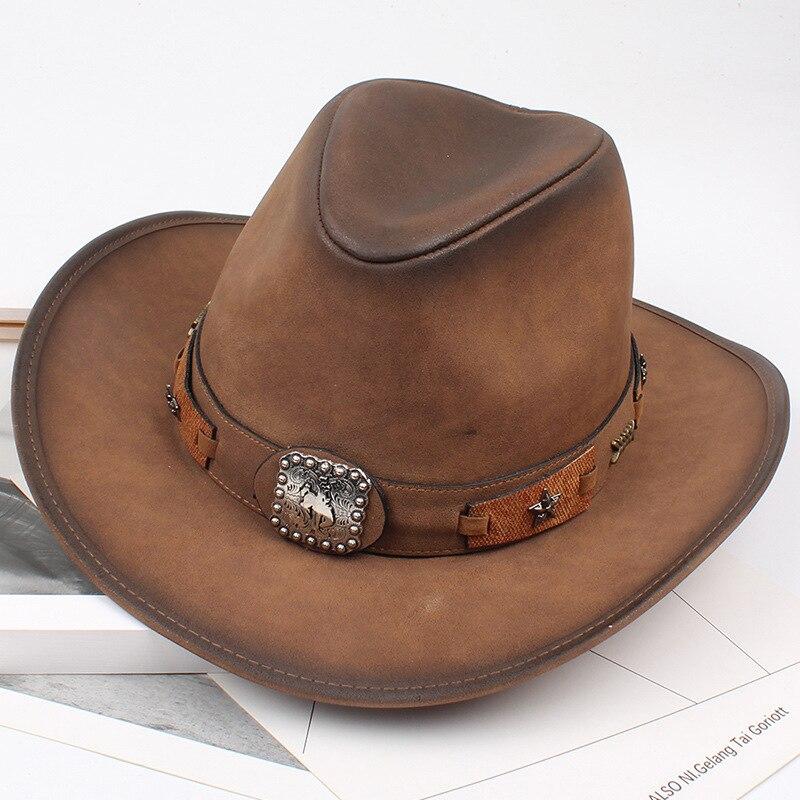 8fc480359d8d5 QPALCR nuevo otoño sombrero Unisex sombreros de vaquero de cuero hombres  mujeres Vintage visera viajes sombrero punky rendimiento España alta  calidad en ...