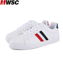 MWSC New Arrival Man Casual Shoes Striped Classic White Flat with Fashion Breathable Shoes Mixed Colors Footwear(China)