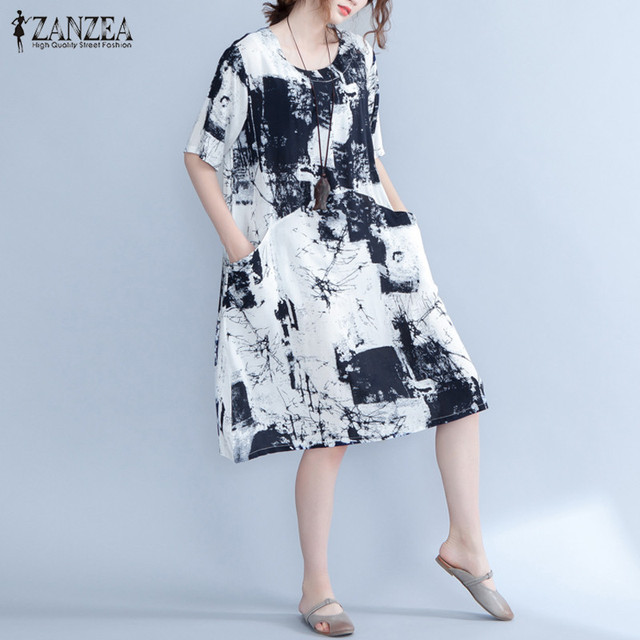 0a96ee82cf511 ZANZEA Women Summer Sundress Retro Floral Print Loose Club Party Long Shirt  Dress Kaftan Tops Blusas Oversized Caftan