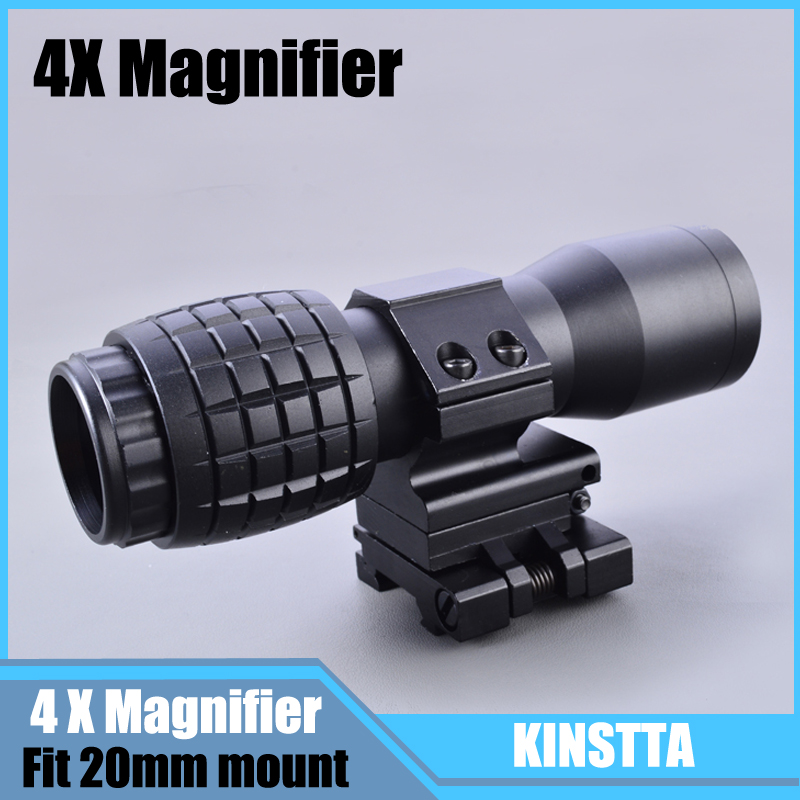 Tactical Airsoft 4X Magnifier Magnifying Focus Adjusted With Flip Up Mount Scope For Hunting Shooting цены