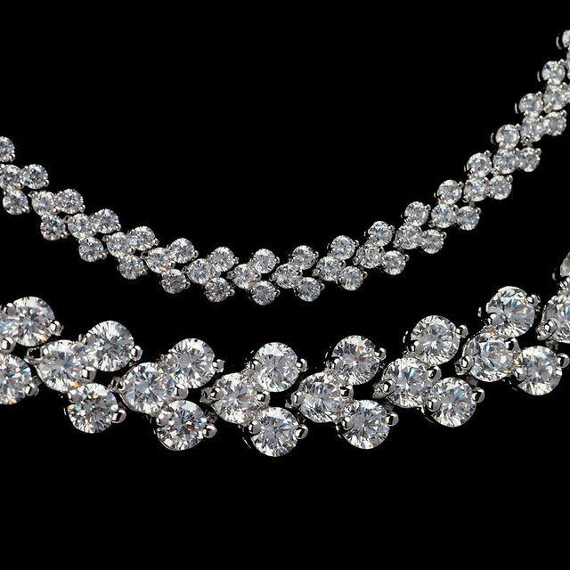 LUOTEEMI Hot Selling Luxury Classic Rome Design 3Rows 2.75mm Cubic Zircon Necklace Bridal Jewelry Wedding Accessories