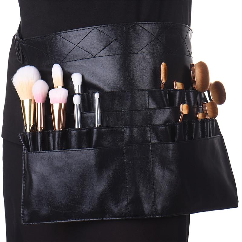 Professional Black Two Arrays Makeup Brush Holder PVC Apron Bag Artist Belt Strap Protable Make Up Bag Cosmetic Brush Bag utah bbq apron tote pro black