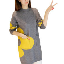 2018 Spring Autumn Women Dress Round Neck Knitted Sweater Dress Casual Elegant Long Sleeve Dresses IOQRCJV S119(China)