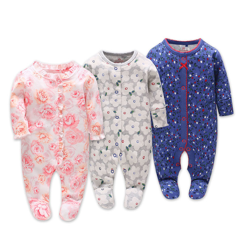 Picturesque Childhood thanksgiving 3-1 Baby Boy's floral romper baby pajamas Cotton Long Sleeve Five Leaf Flowers