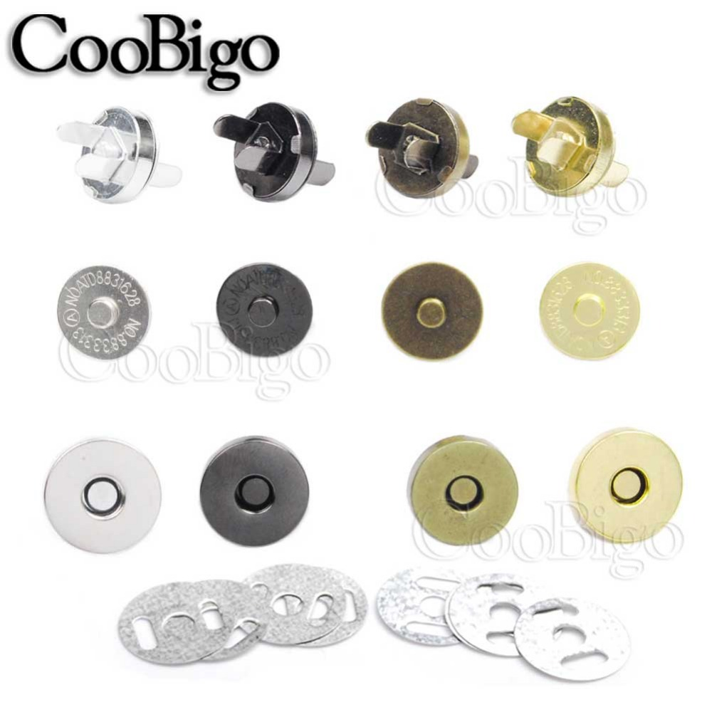 Choose Small Large Magnetic button size: 14mm No Tools Required Black Purses Clothes Mini Skater 24 Sets Magnetic Button Clasp Snaps Bags