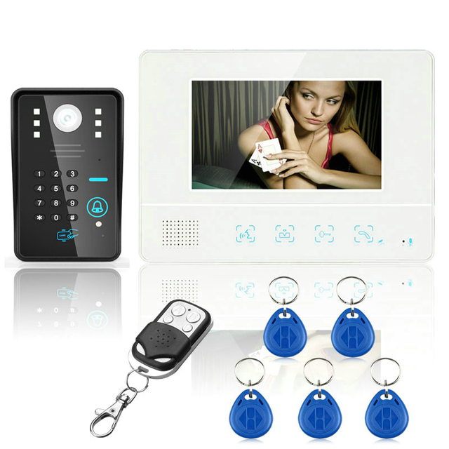 "Free Shipping Wired Touch Key 7"" Video Door Phone Intercom System 1 RFID Keypad Code Number Doorbell Camera 1 Monitor 1000TVL"