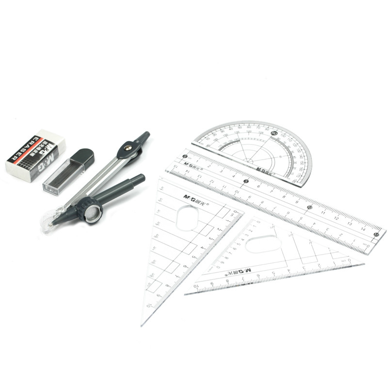 Drafting Supplies Peerless 1set Ruler Drawing Suit 7 Pieces Of Compasses Ruler Set Student Ruler Set Brands Geometric Drafting Tool Set Math Sets