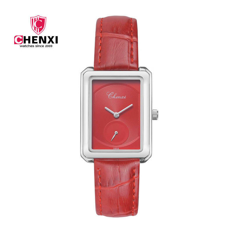 New Arrival Brand CHENXI Red Watch Woman Minimalism Elegant Square Silver Dial Leather Strap Lady Casual Quartz-watches 4 Color  đồng hồ gucci dây nam châm