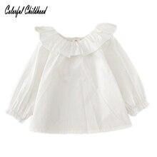 Блузки для маленьких девочек осень г. модные белые маленьких Блузка для девочек из хлопка с длинными рукавами и воротником в стиле лотоса одежда для малышей