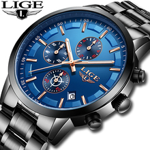 LIGE Fashion Watches Mens Top Brand Luxury Full Stainless Steel Waterproof Date Business Sports Quartz Watch Relogio Masculino