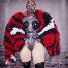 Sexy Black Red Mesh Jacket Outfit Bodysuit Headpiece Costume Stage Danc