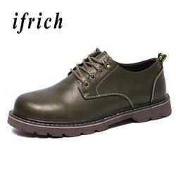 2018 мужская кожаная обувь коричневого цвета хаки Мужская модная обувь удобная повседневная брендовая мужская обувь из натуральной кожи