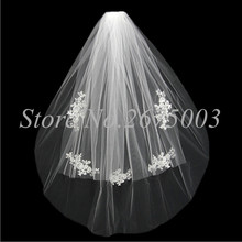 Newest Bridal Veils with Comb Two Layers Free Size SLace Appliques Veil Wedding 2017 Accessory