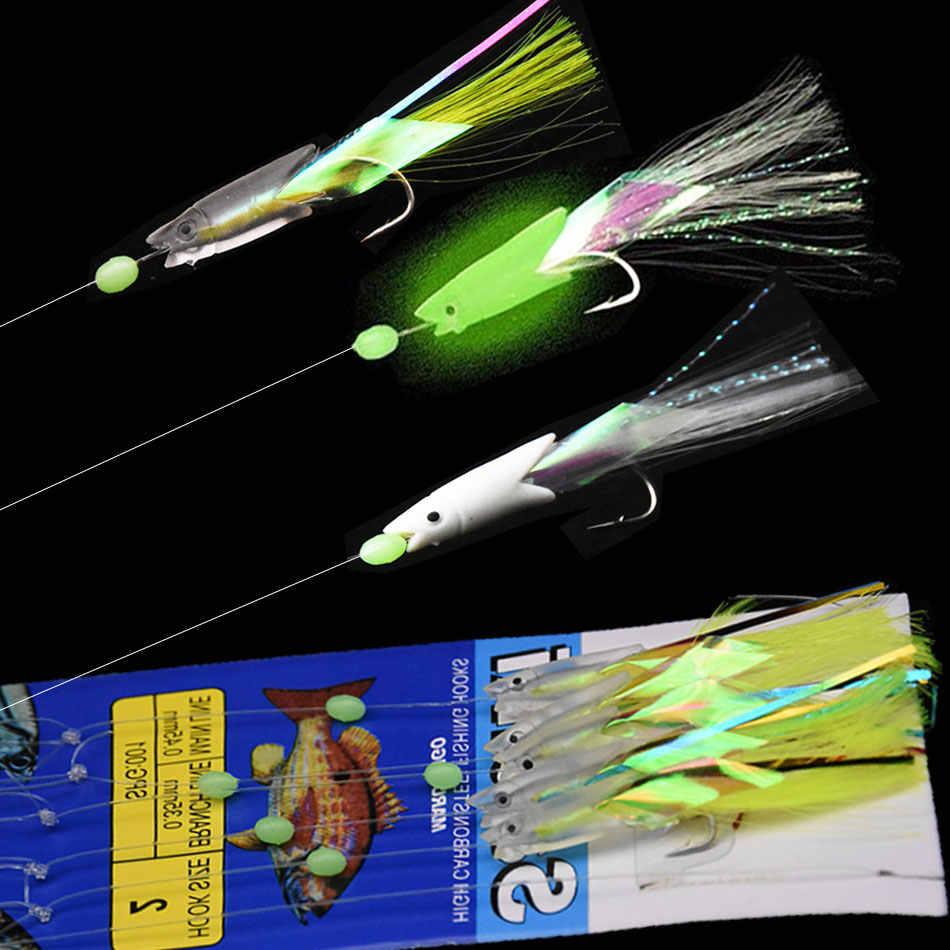 Lot Mackerel Feathers Rigs Bass Cod Lure Match Sea Fishing Tackle W// Hook Boat