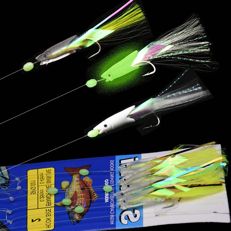JYJ 5Pcs/Set Carbon Steel Mackerel Feathers Bass Cod Lure Sea Fishing Luminous Fishing Sabiki Hook Treble Bait Fishing Wire