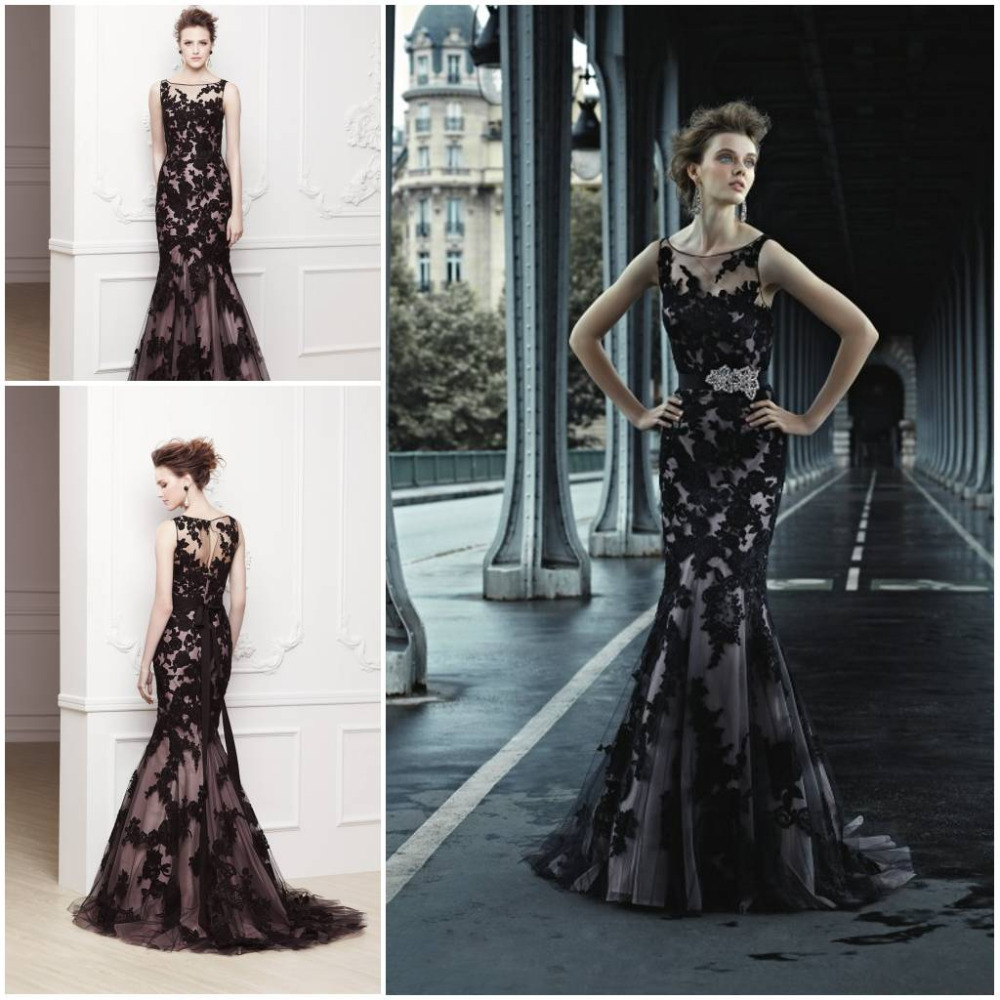 Black Applique Long Evening Dress 2015 Formal