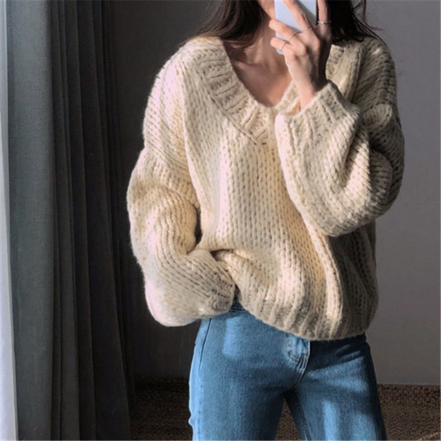 RUGOD Casual winter women clothes Fashion V neck long sleeve pullover sweater office lady pullovers jumper pull femme hiver